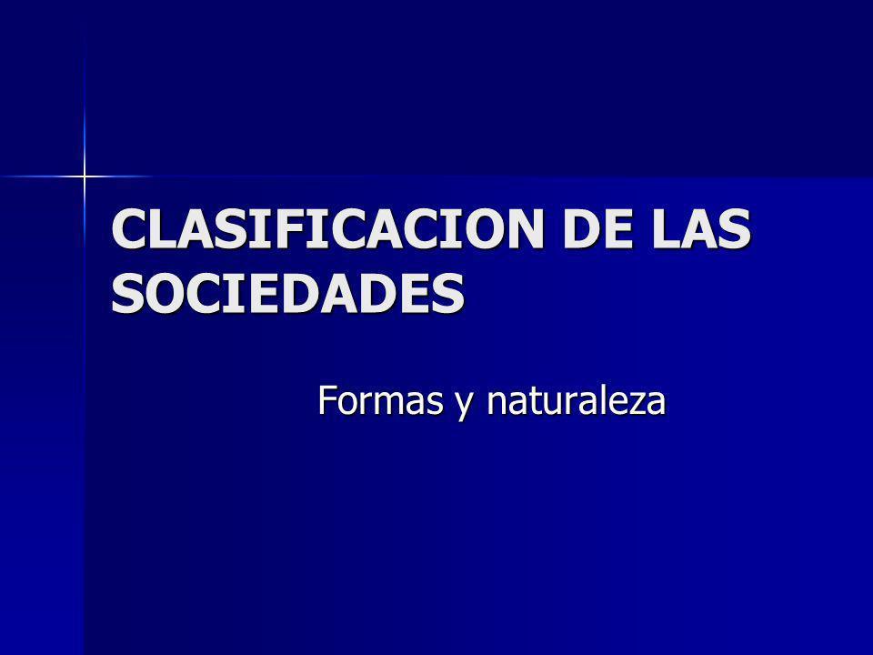 CLASIFICACION DE LAS SOCIEDADES