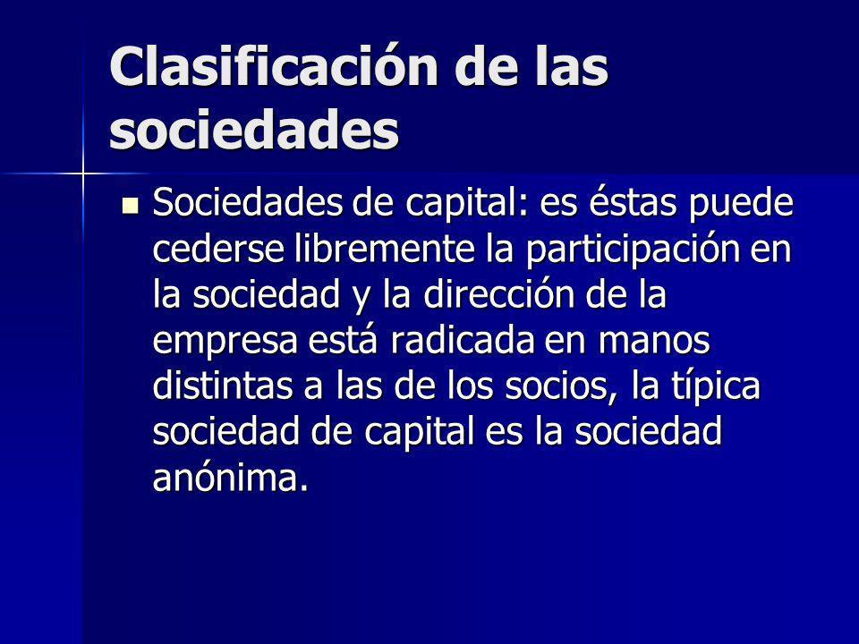 Clasificación de las sociedades