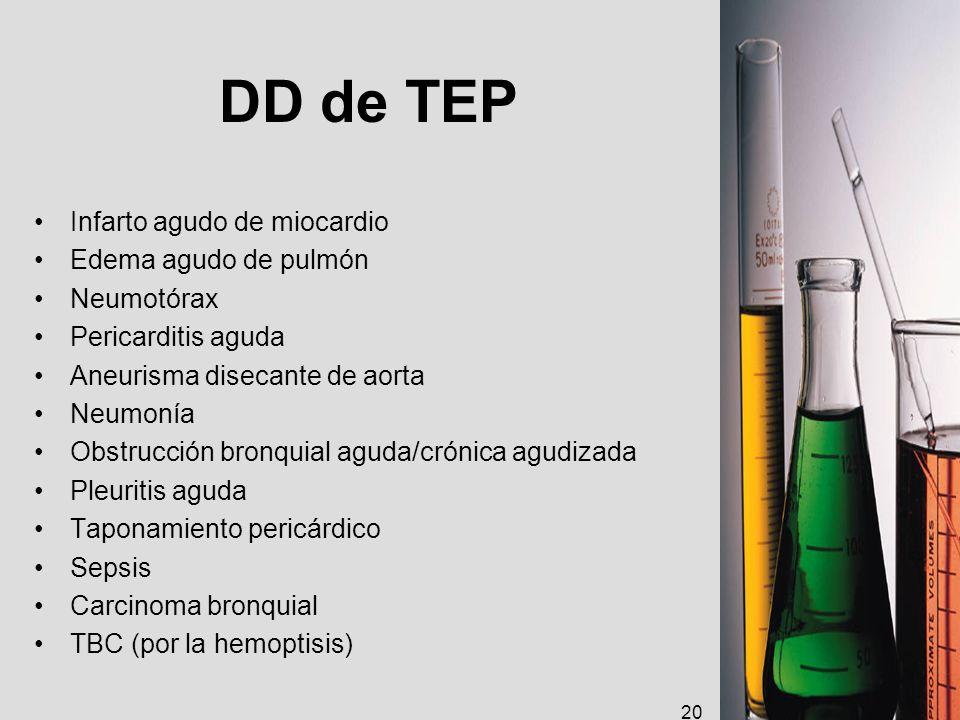 DD de TEP Infarto agudo de miocardio Edema agudo de pulmón Neumotórax