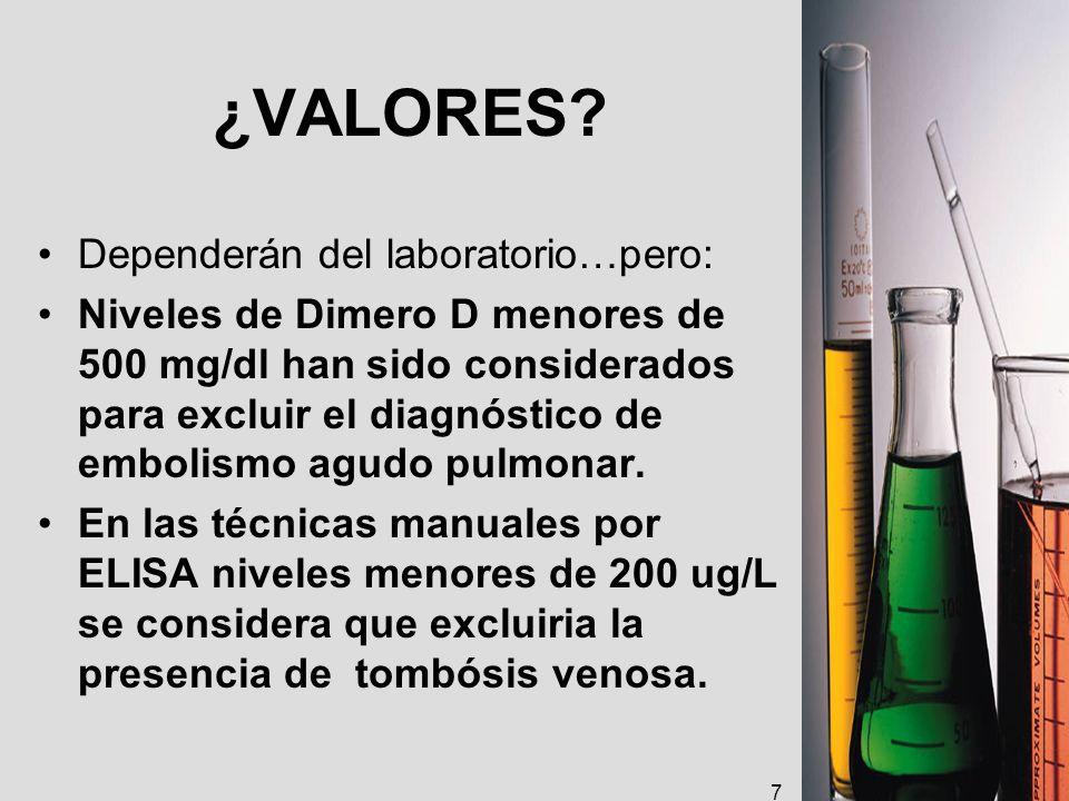 ¿VALORES Dependerán del laboratorio…pero: