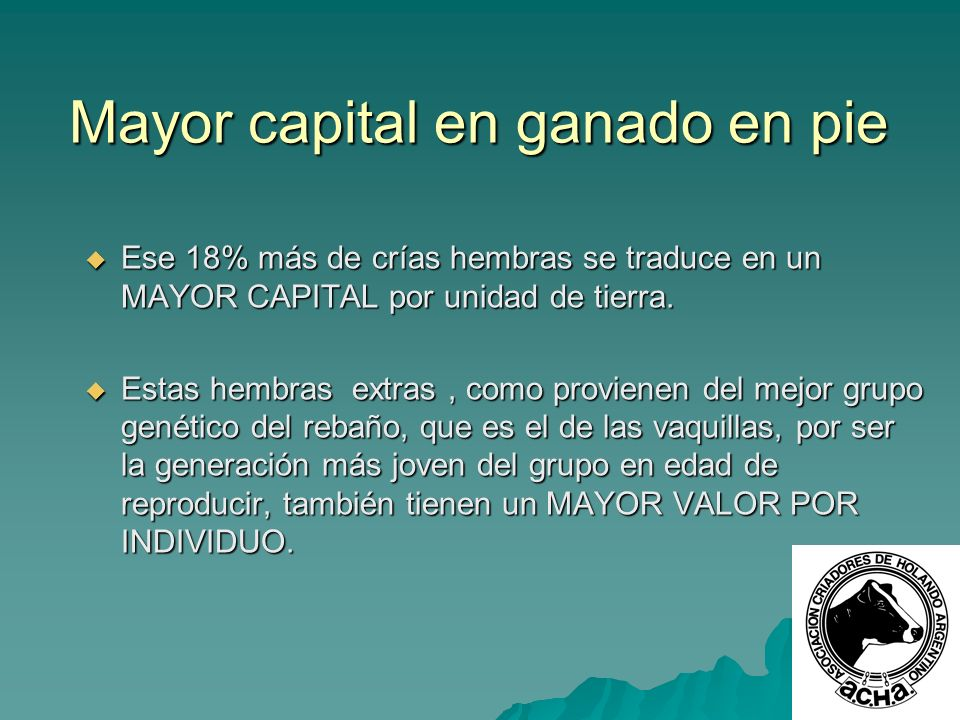 Mayor capital en ganado en pie