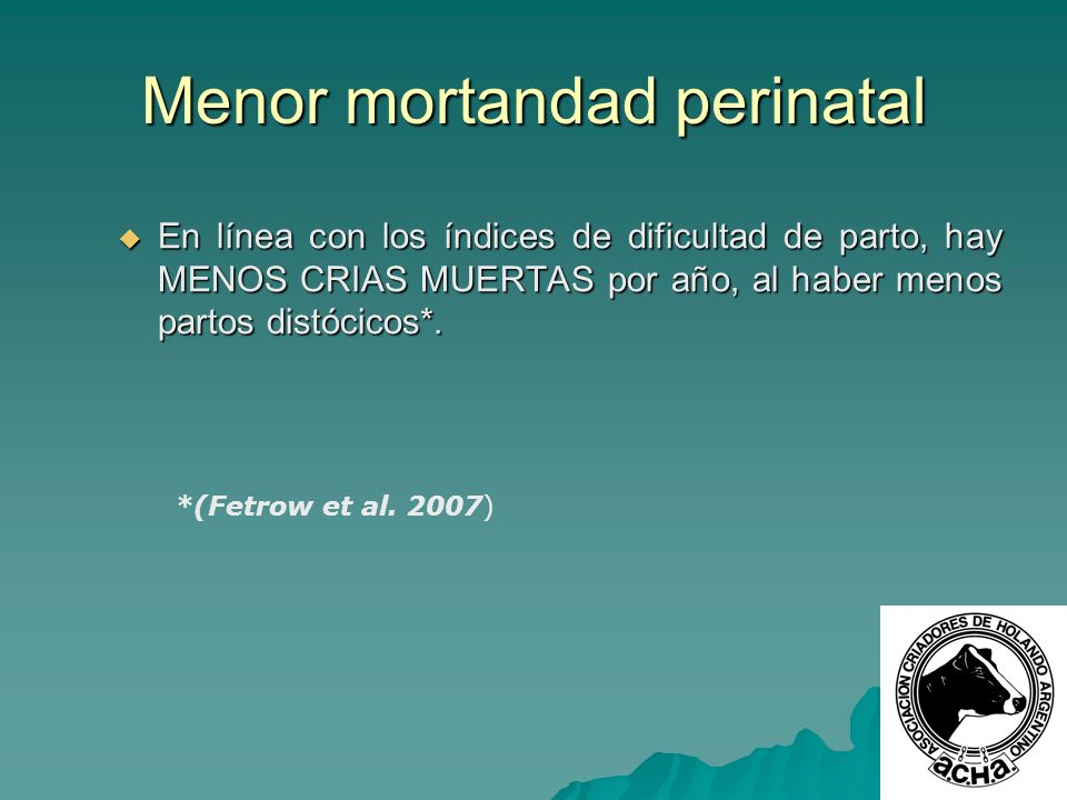 Menor mortandad perinatal