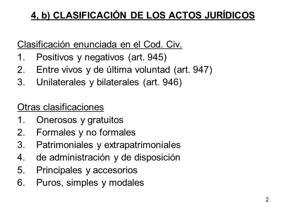 4, b) CLASIFICACIÓN DE LOS ACTOS JURÍDICOS