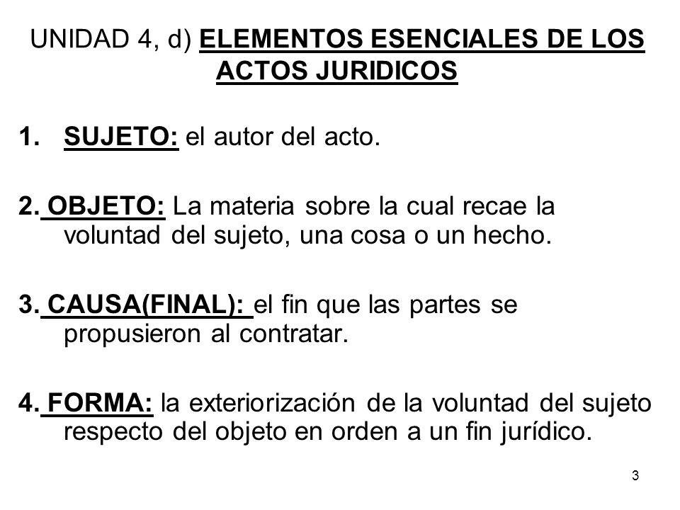 UNIDAD 4, d) ELEMENTOS ESENCIALES DE LOS ACTOS JURIDICOS