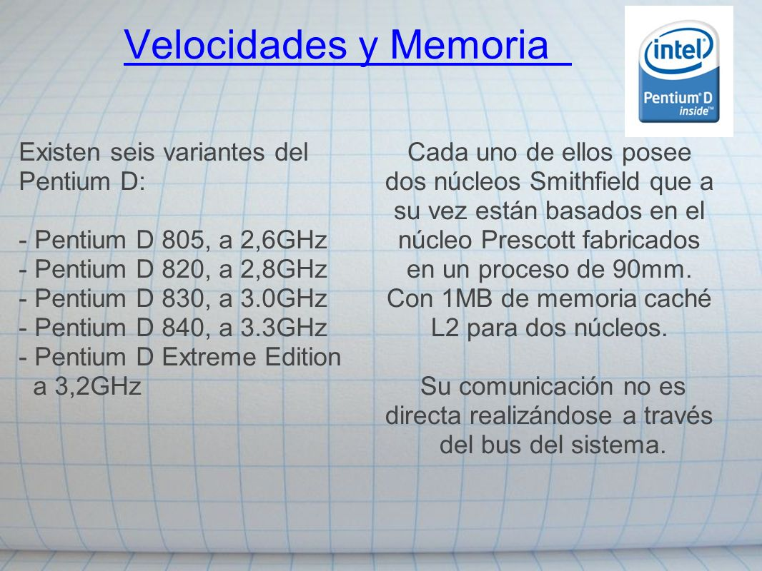 Velocidades y Memoria Existen seis variantes del Pentium D: