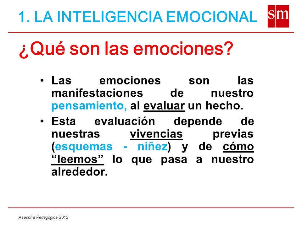 ¿Qué son las emociones 1. LA INTELIGENCIA EMOCIONAL