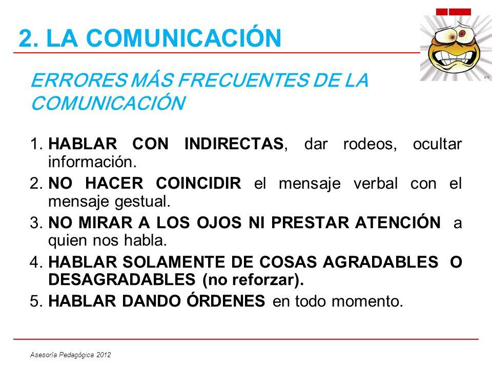 ERRORES MÁS FRECUENTES DE LA COMUNICACIÓN