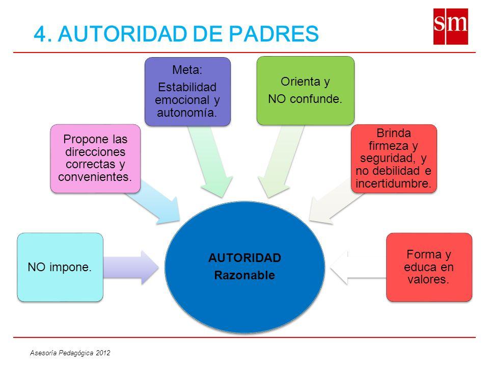 4. AUTORIDAD DE PADRES Meta: Orienta y