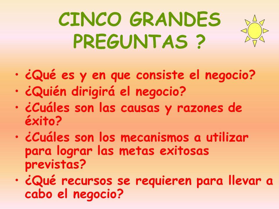 CINCO GRANDES PREGUNTAS