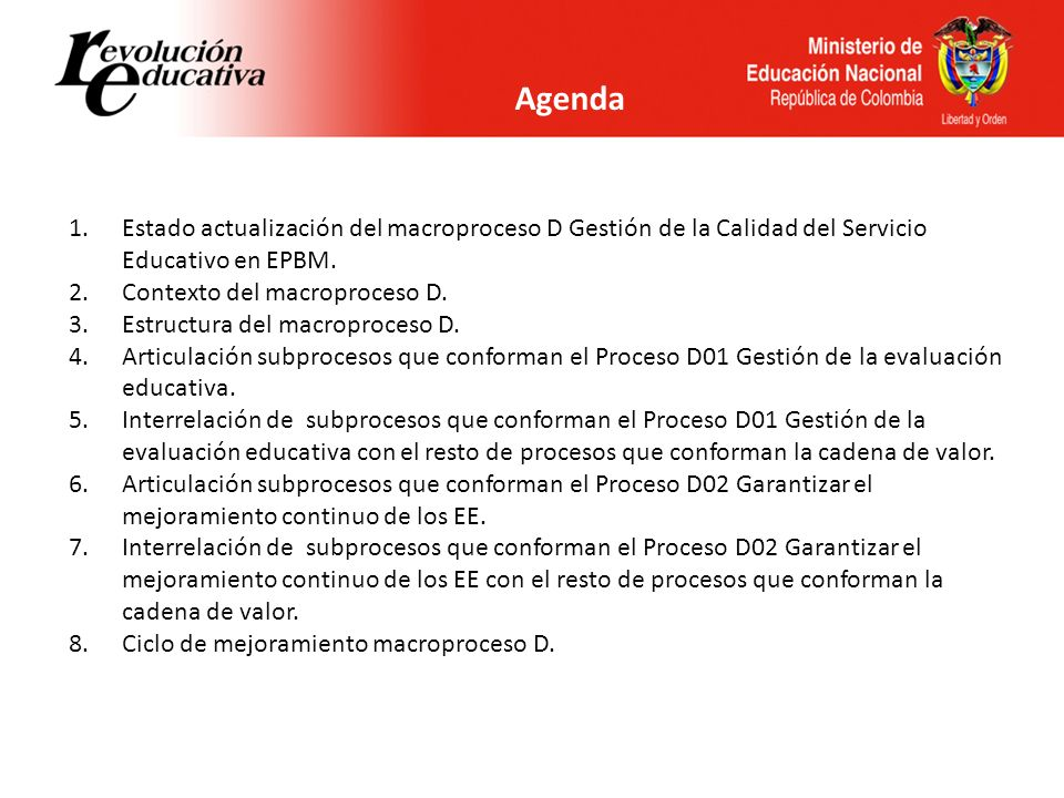 Agenda Estado actualización del macroproceso D Gestión de la Calidad del Servicio Educativo en EPBM.
