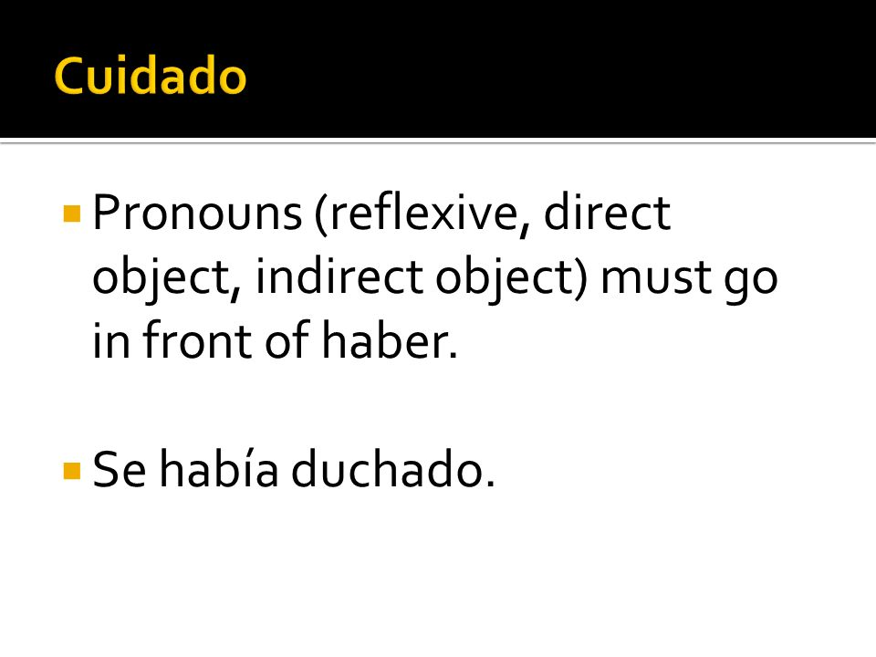 Cuidado Pronouns (reflexive, direct object, indirect object) must go in front of haber.