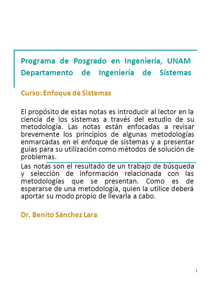 Programa de Posgrado en Ingeniería, UNAM Departamento de Ingeniería de Sistemas