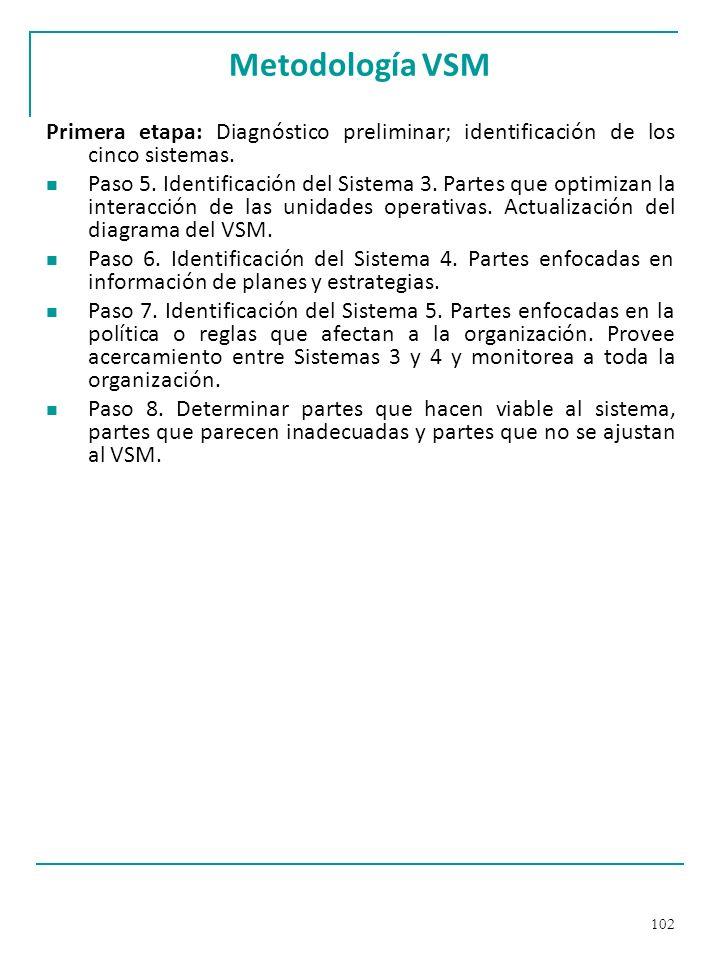 Metodología VSM Primera etapa: Diagnóstico preliminar; identificación de los cinco sistemas.