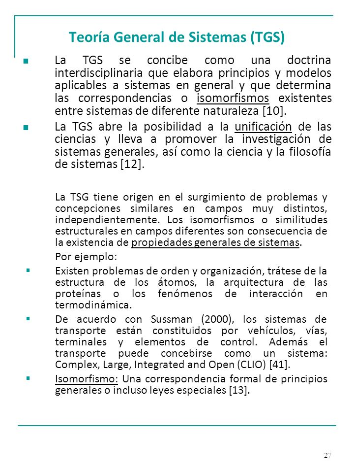 Teoría General de Sistemas (TGS)