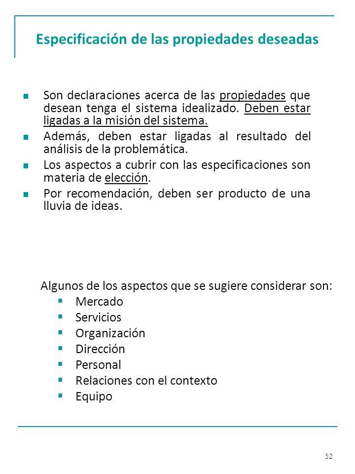 Especificación de las propiedades deseadas