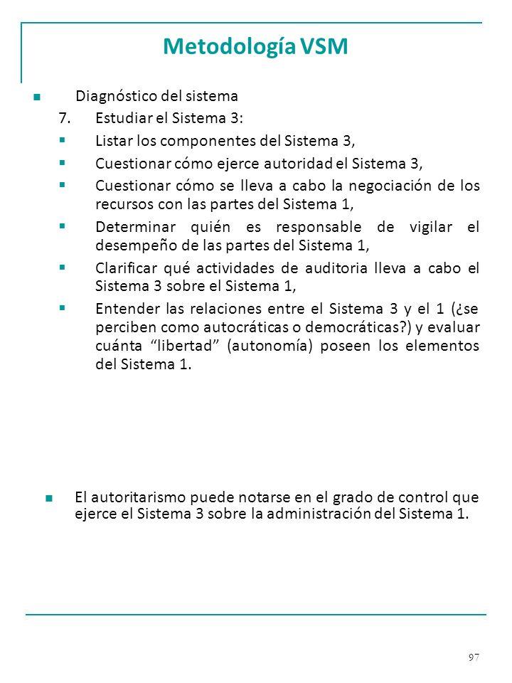 Metodología VSM Diagnóstico del sistema Estudiar el Sistema 3: