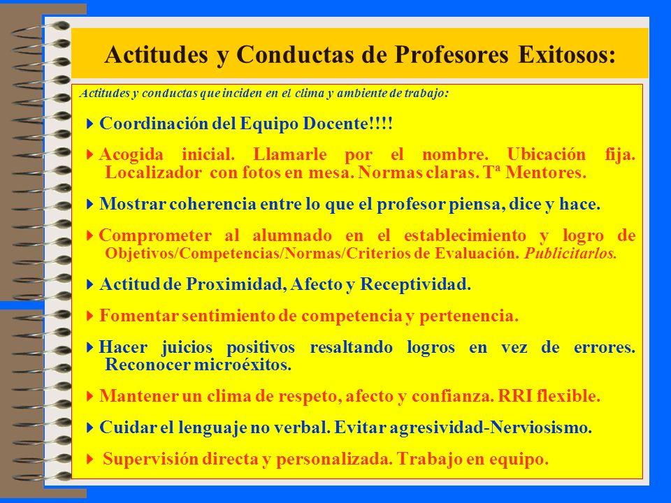 Actitudes y Conductas de Profesores Exitosos: