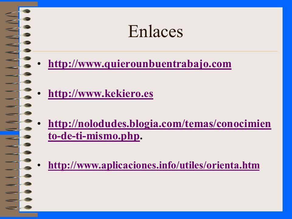 Enlaces http://www.quierounbuentrabajo.com http://www.kekiero.es