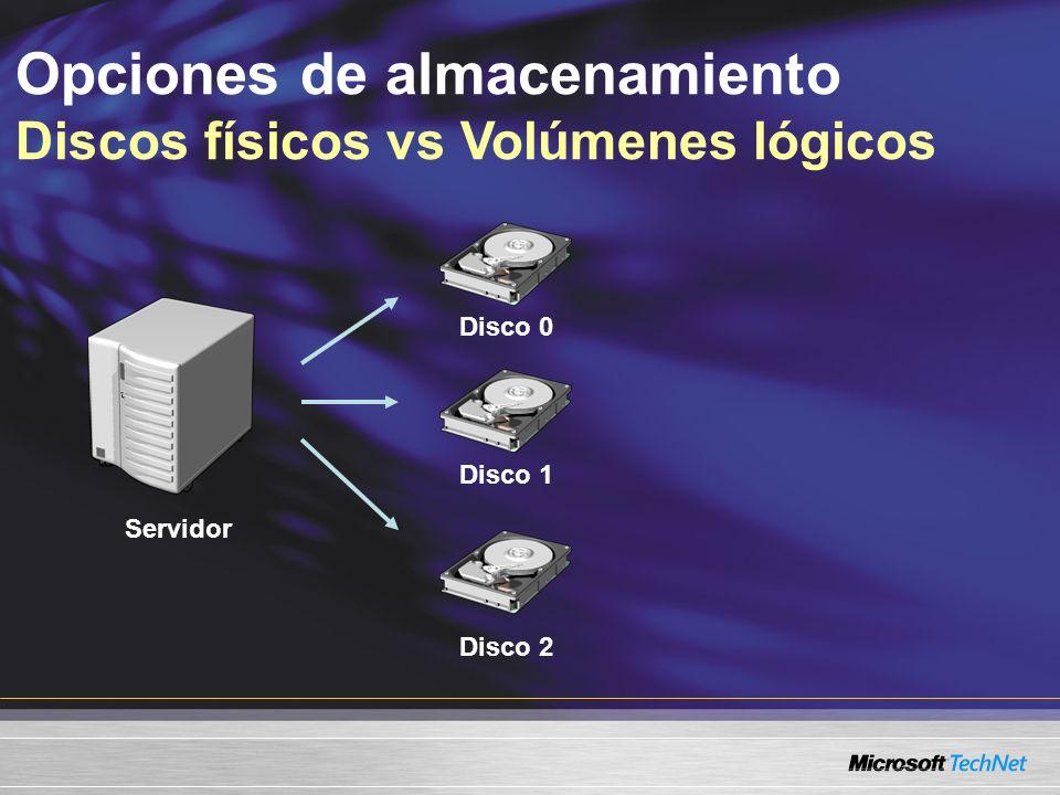 Opciones de almacenamiento Discos físicos vs Volúmenes lógicos