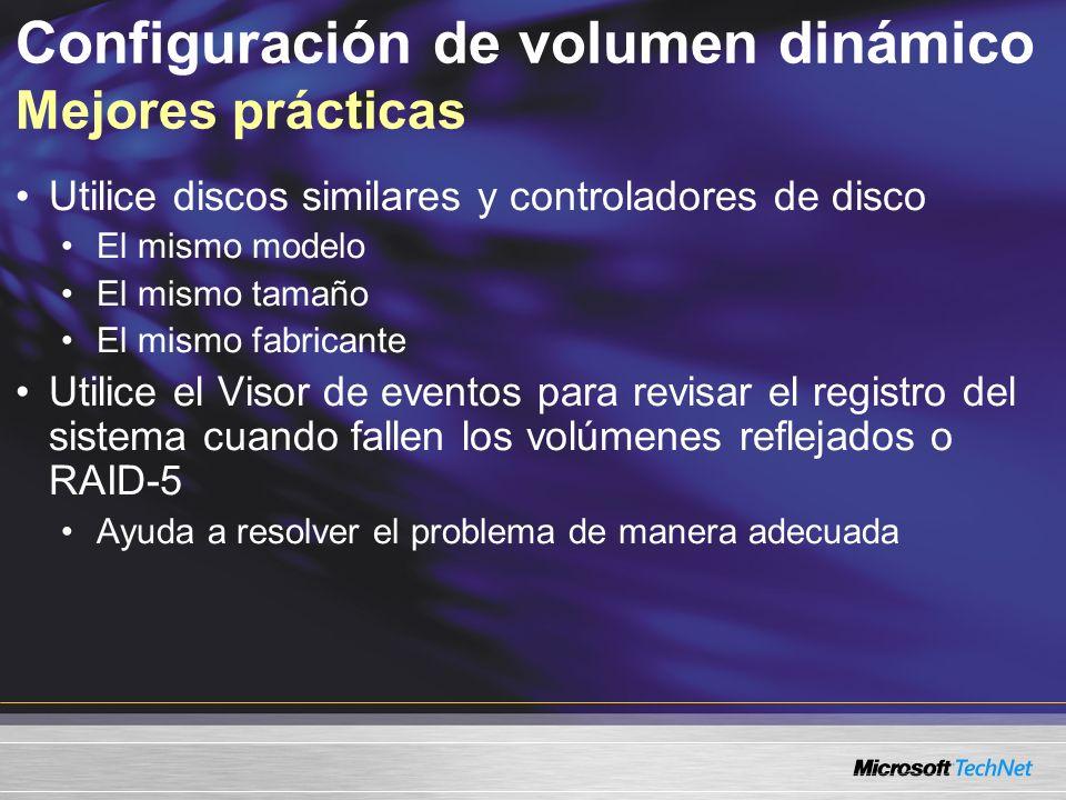 Configuración de volumen dinámico Mejores prácticas