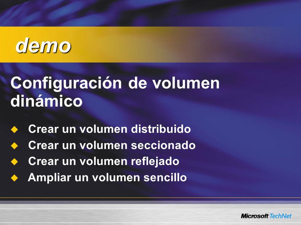 demo Configuración de volumen dinámico Crear un volumen distribuido