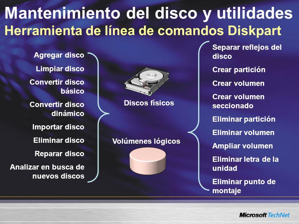 Mantenimiento del disco y utilidades Herramienta de línea de comandos Diskpart