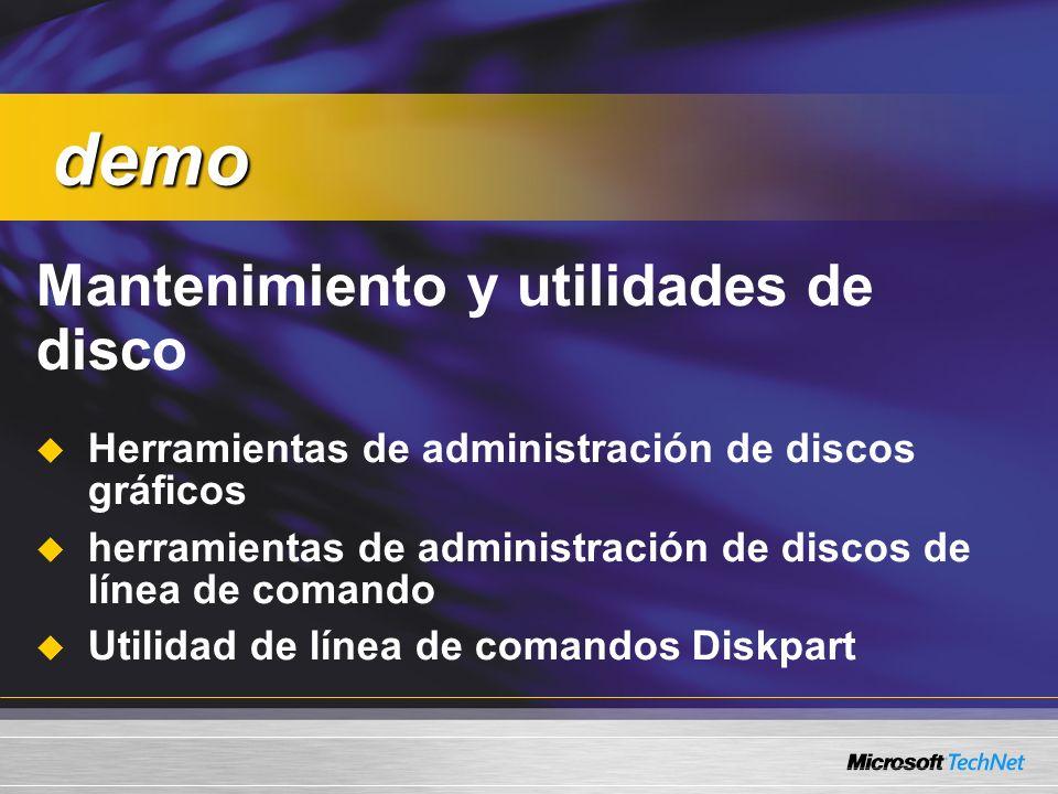demo Mantenimiento y utilidades de disco