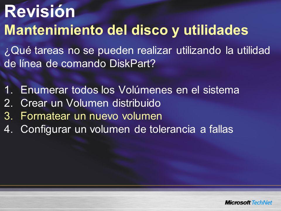 Revisión Mantenimiento del disco y utilidades