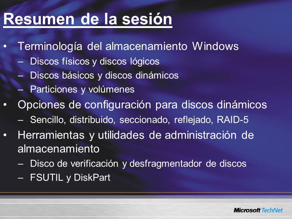 Resumen de la sesión Terminología del almacenamiento Windows