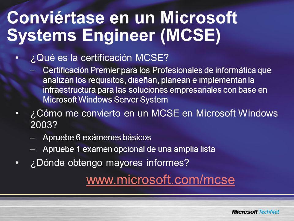 Conviértase en un Microsoft Systems Engineer (MCSE)