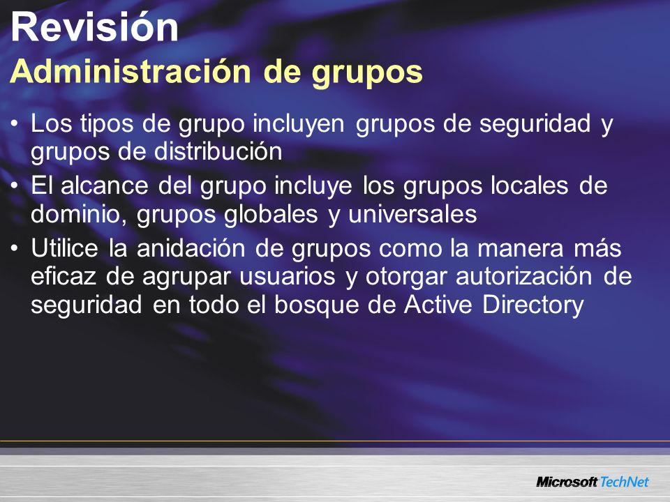 Revisión Administración de grupos