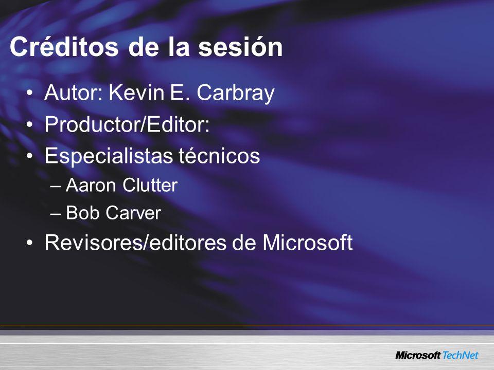 Créditos de la sesión Autor: Kevin E. Carbray Productor/Editor: