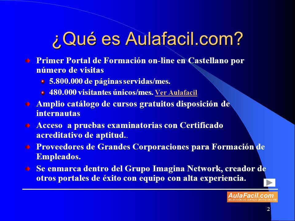 ¿Qué es Aulafacil.com Primer Portal de Formación on-line en Castellano por número de visitas. 5.800.000 de páginas servidas/mes.