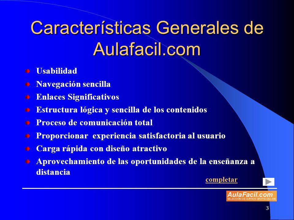 Características Generales de Aulafacil.com
