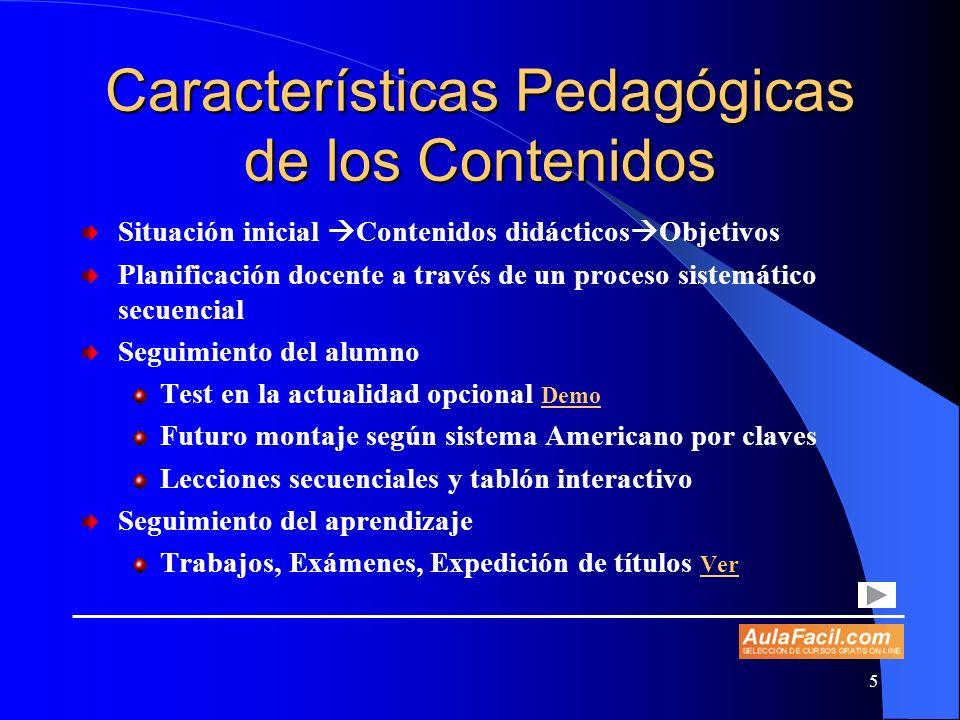 Características Pedagógicas de los Contenidos