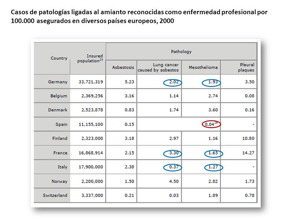 Casos de patologías ligadas al amianto reconocidas como enfermedad profesional por 100.000 asegurados en diversos países europeos, 2000
