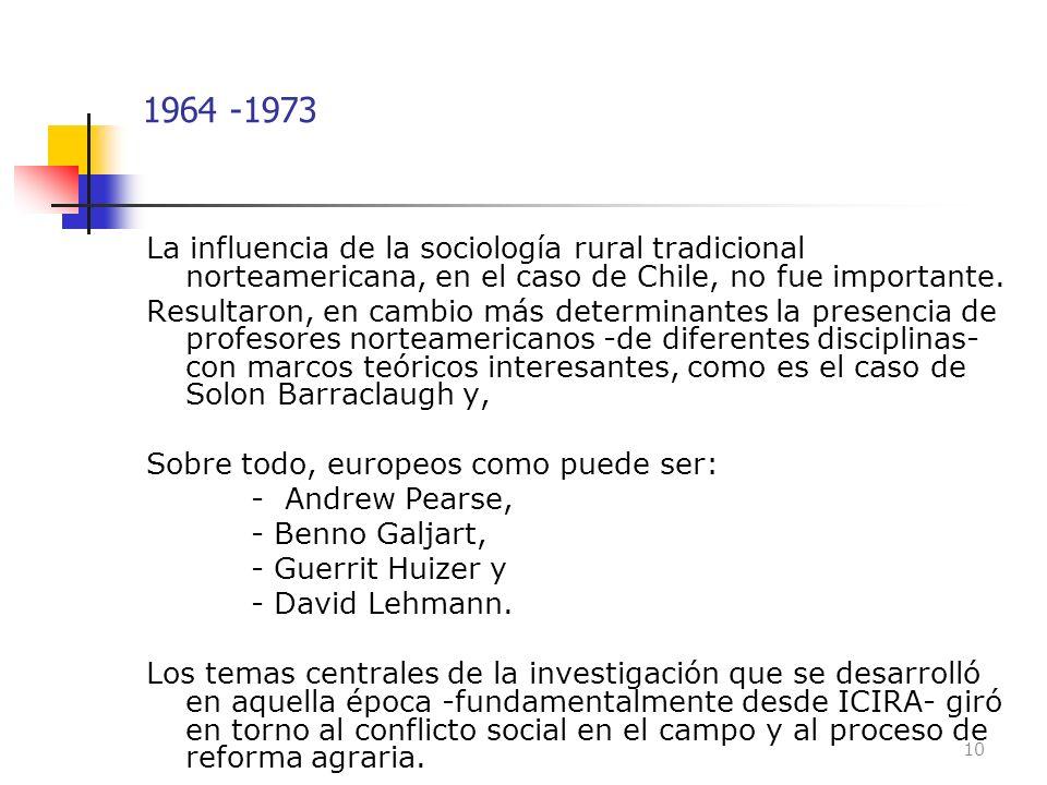 1964 -1973 La influencia de la sociología rural tradicional norteamericana, en el caso de Chile, no fue importante.