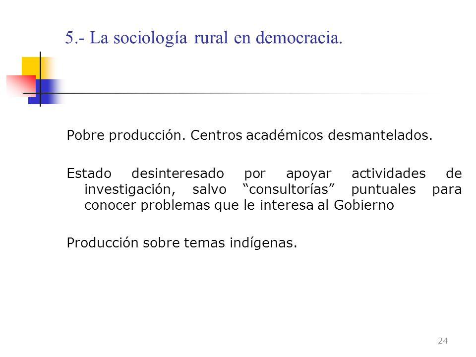 5.- La sociología rural en democracia.