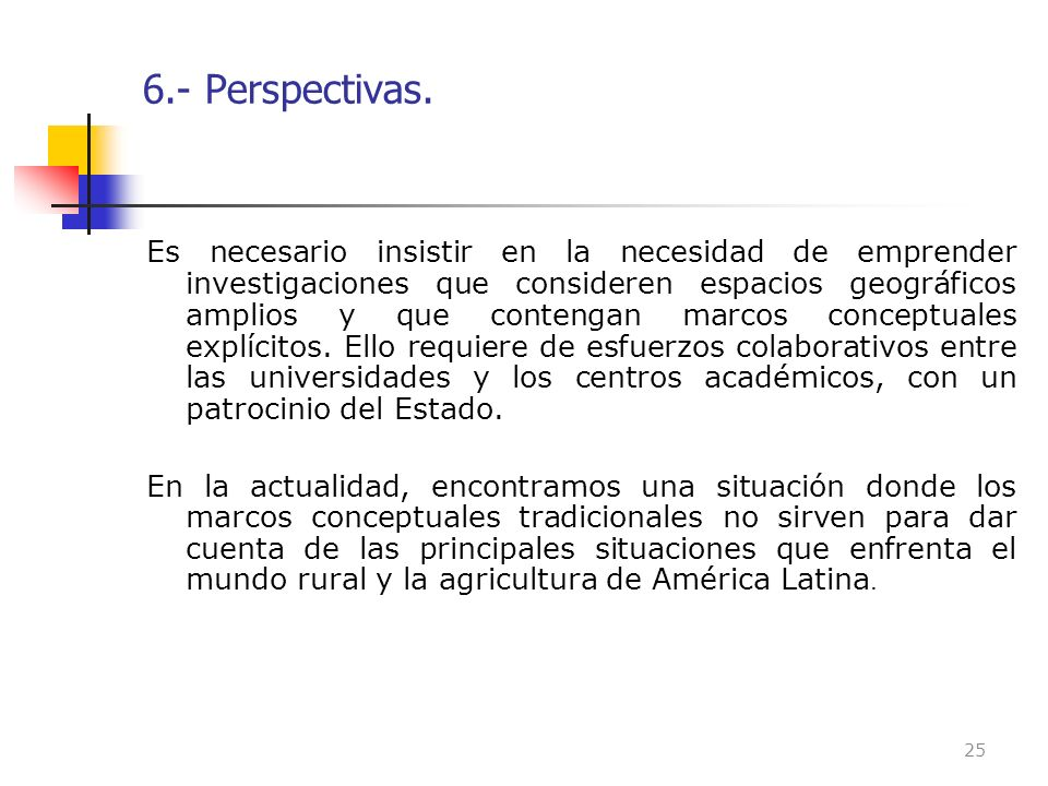 6.- Perspectivas.