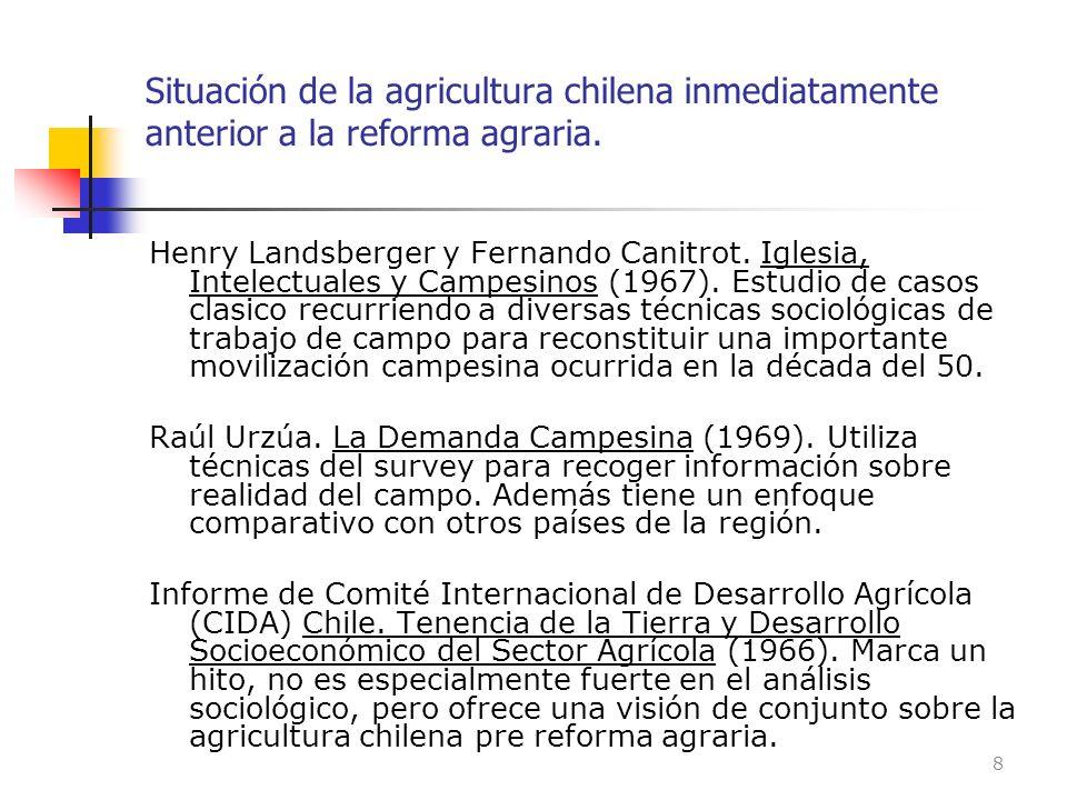 Situación de la agricultura chilena inmediatamente anterior a la reforma agraria.