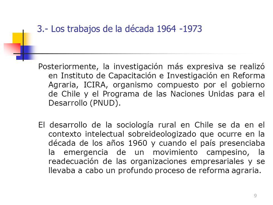 3.- Los trabajos de la década 1964 -1973