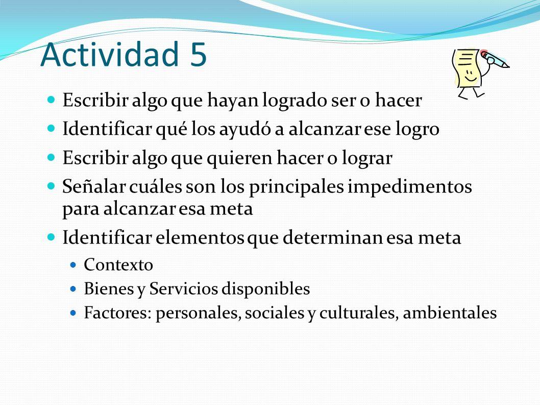 Actividad 5 Escribir algo que hayan logrado ser o hacer