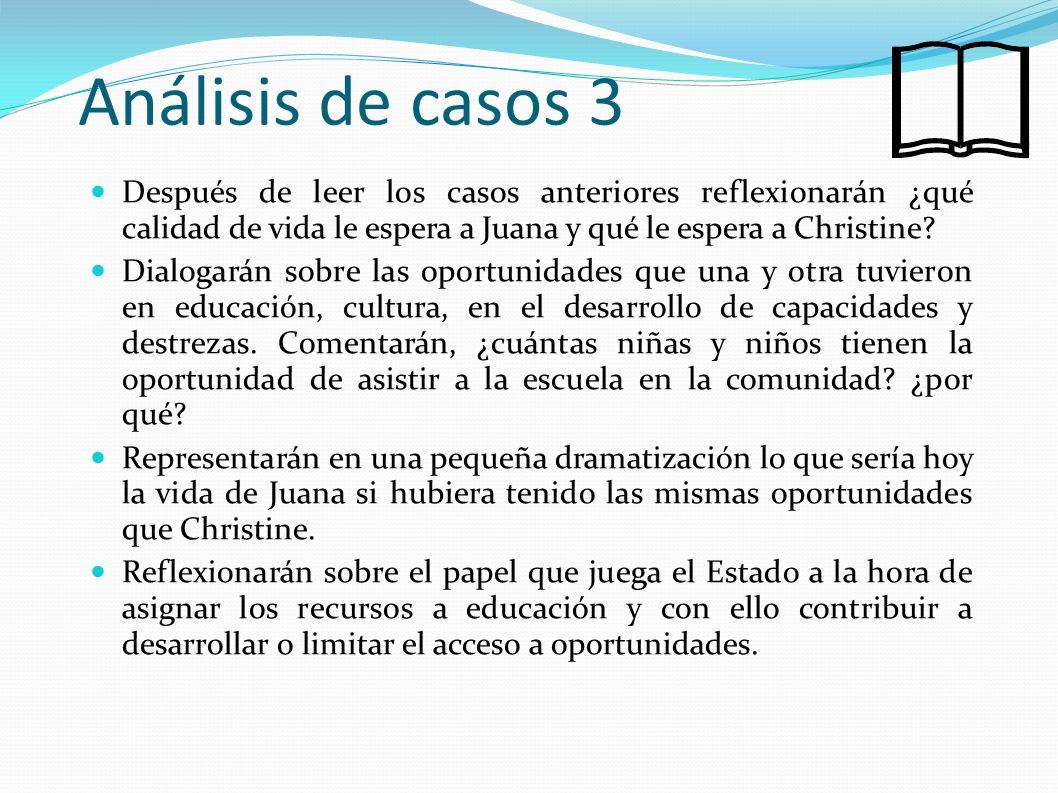 Análisis de casos 3 Después de leer los casos anteriores reflexionarán ¿qué calidad de vida le espera a Juana y qué le espera a Christine