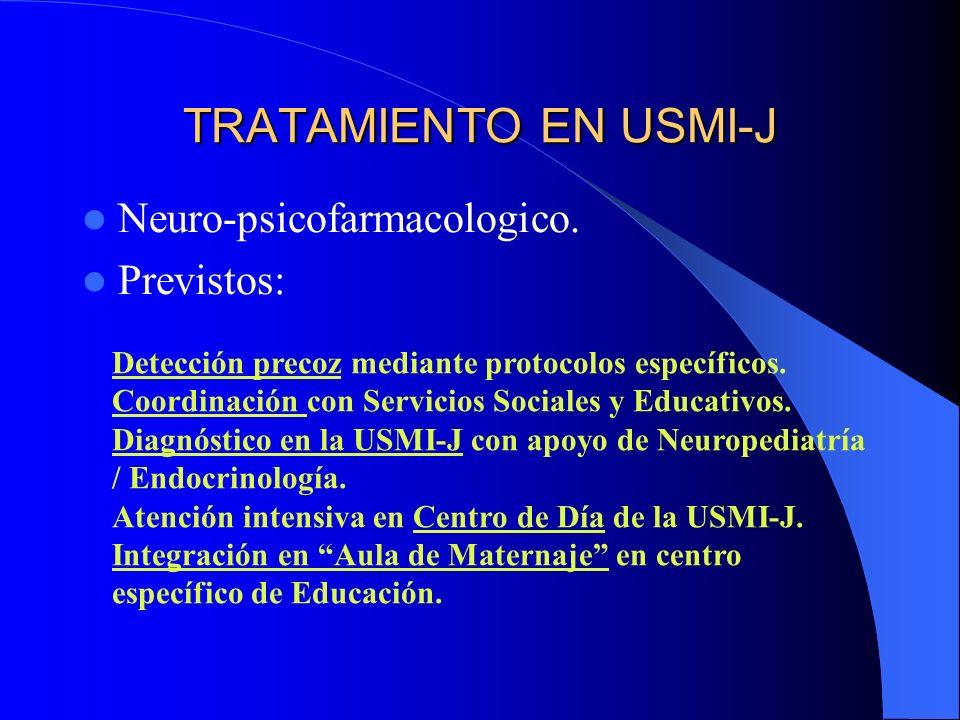 TRATAMIENTO EN USMI-J Neuro-psicofarmacologico. Previstos: