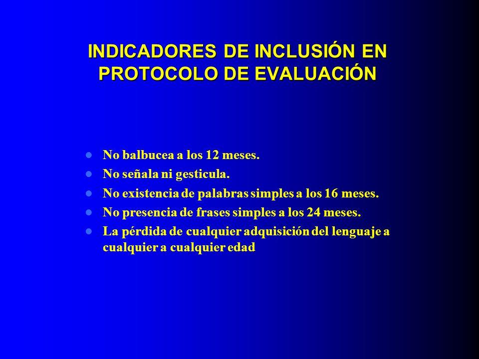 INDICADORES DE INCLUSIÓN EN PROTOCOLO DE EVALUACIÓN