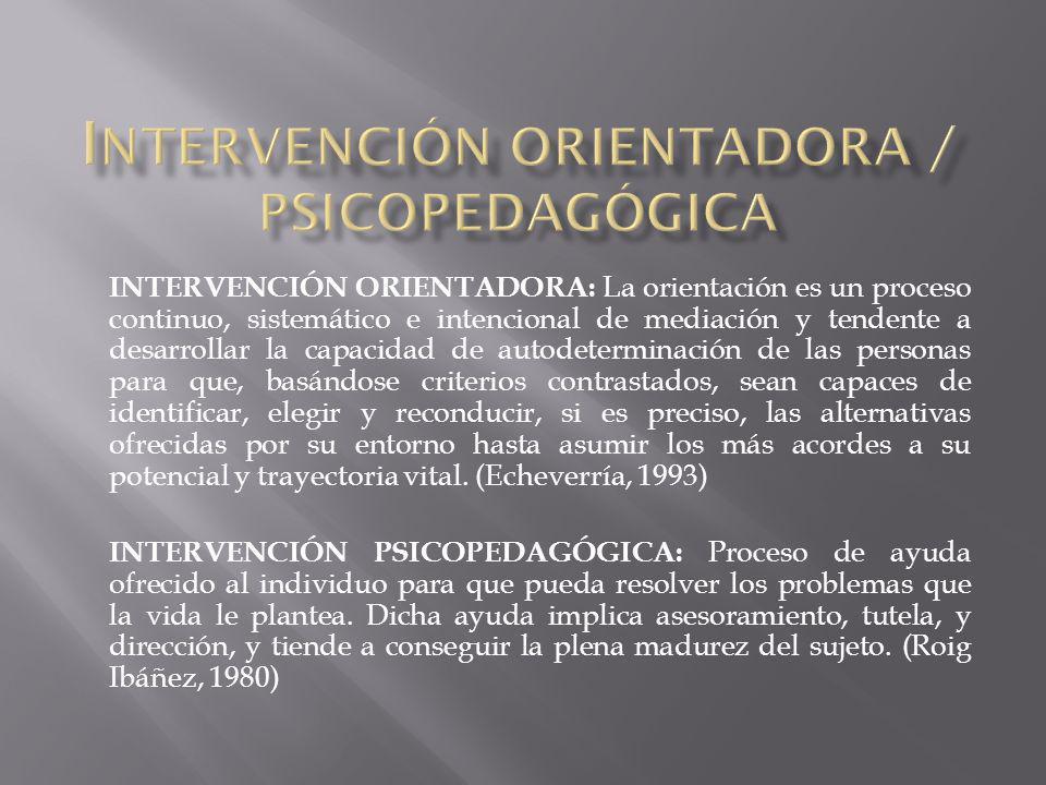INTERVENCIÓN ORIENTADORA / PSICOPEDAGÓGICA