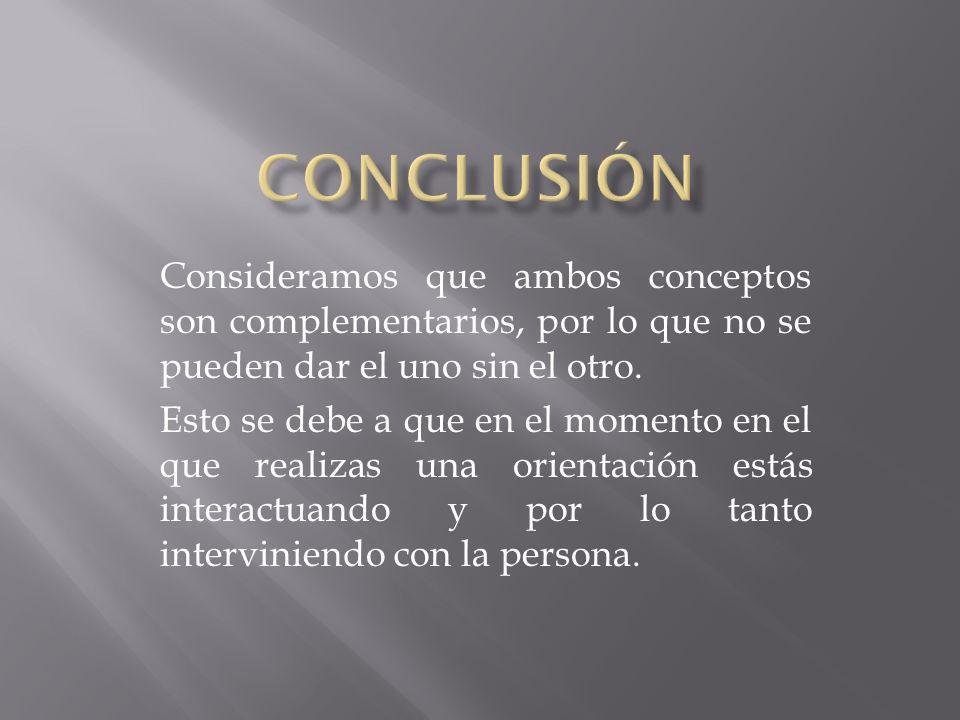 CONCLUSIÓN Consideramos que ambos conceptos son complementarios, por lo que no se pueden dar el uno sin el otro.