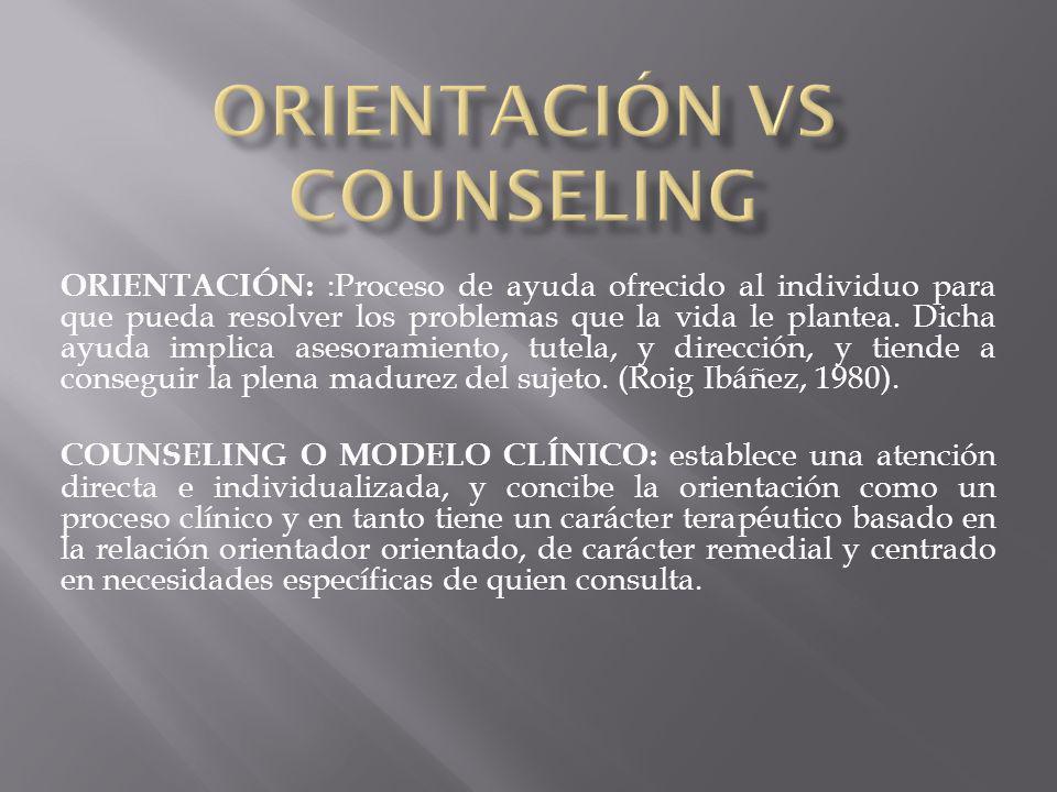 ORIENTACIÓN VS COUNSELING