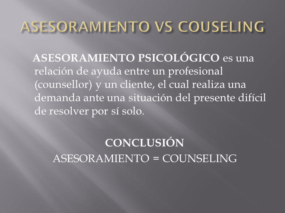 ASESORAMIENTO VS COUSELING