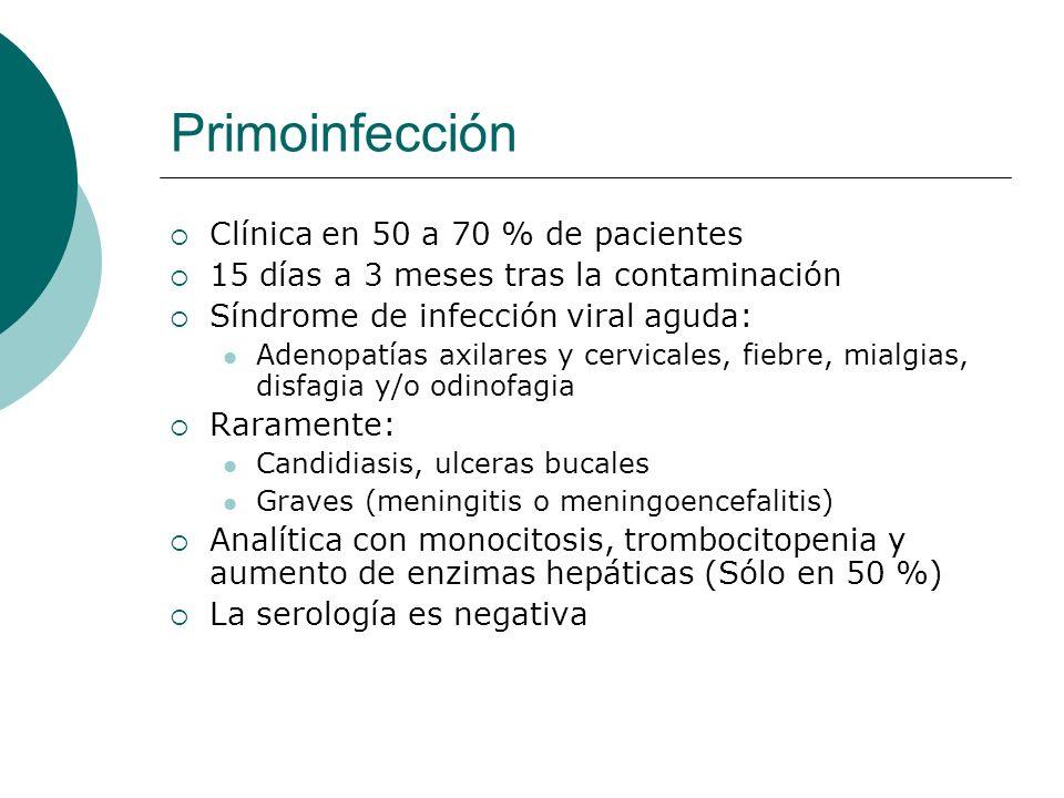 Primoinfección Clínica en 50 a 70 % de pacientes